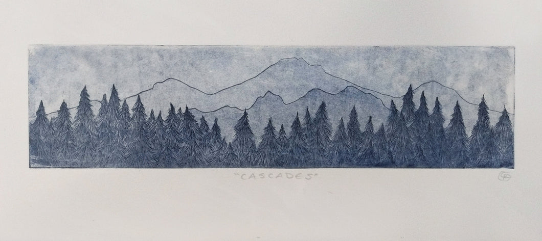 Cascade Mountains Etching
