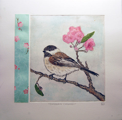 Chiyogami Chickadee - Blue Variation