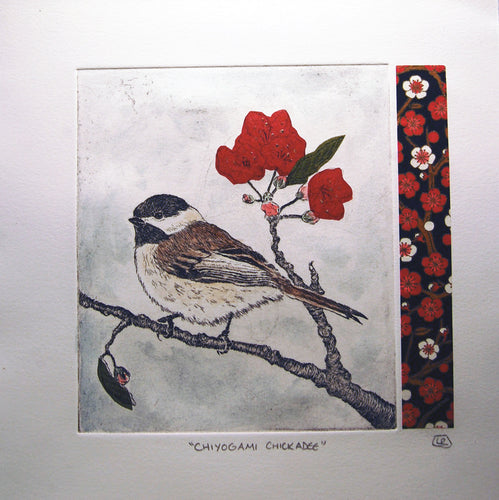Chiyogami Chickadee - Red Variation