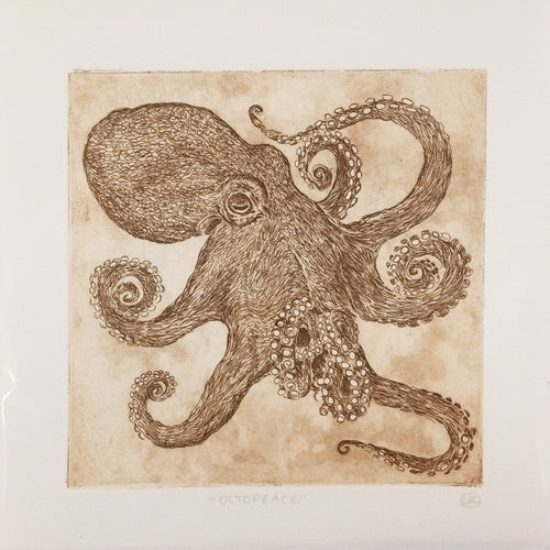 Copy of Octopeace Octopus Etching Sepia