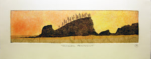 Olympic Peninsula Silhouette Etching - Dawn Version