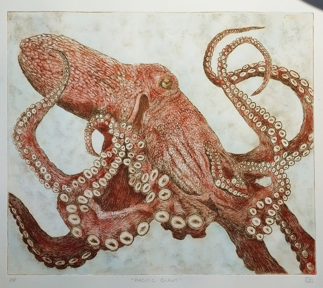Pacific Giant Octopus - dark hand tinted version (one of a kind)
