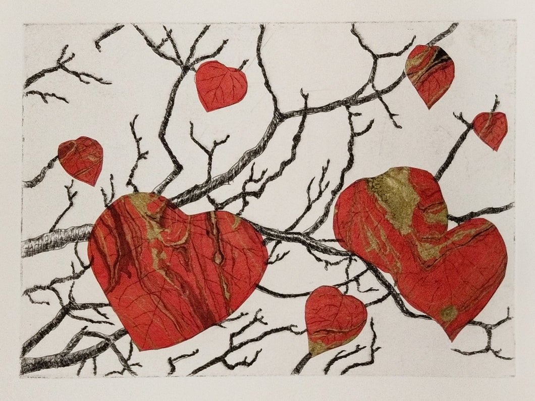 Redbud Branches Etching - Gold Ink Variation