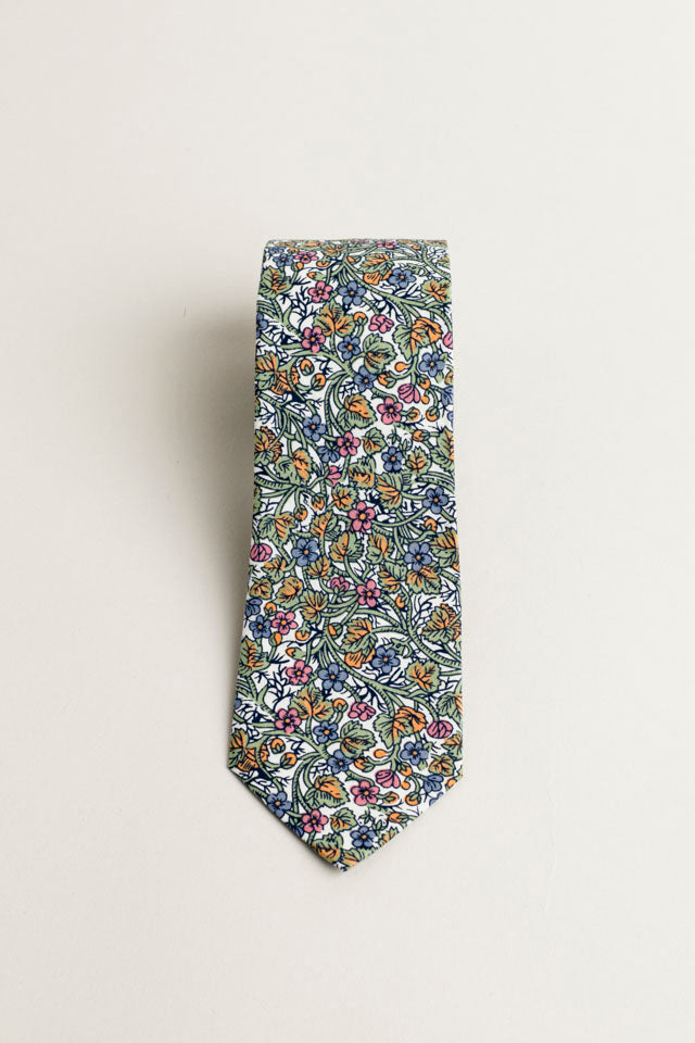 COTTON SKINNY TIE MULTIFLORAL