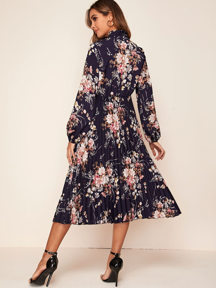 LIFE PLEATED FLORAL DRESS