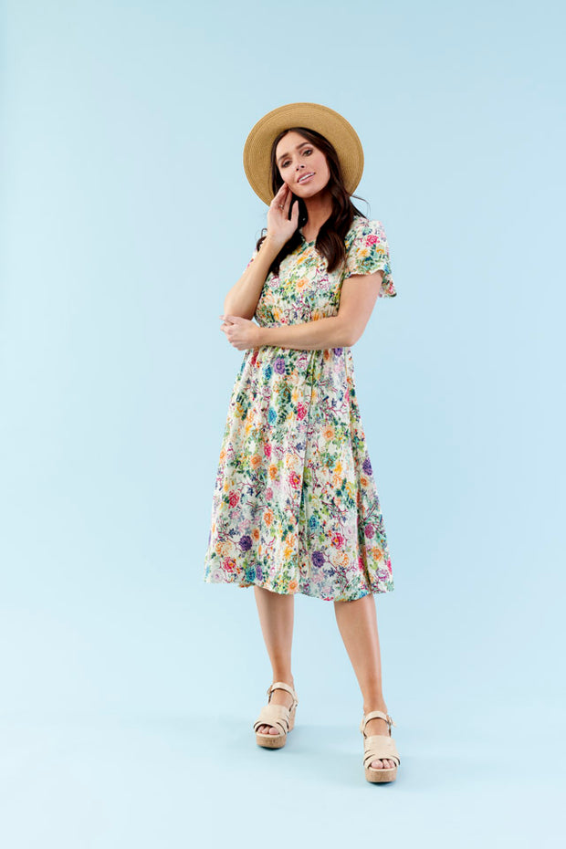 A-LINE FLUTTER SLEEVE FLORAL   DRESS