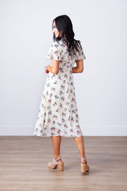 MANDARIN RUFFLE FLORAL DRESS