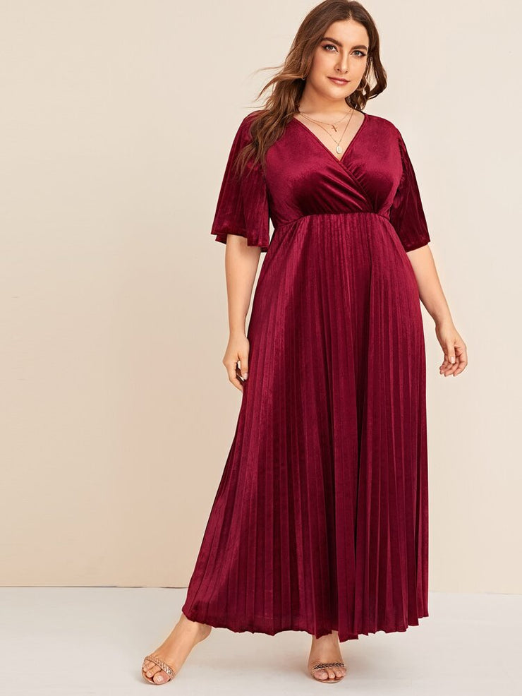 Jolies Plus Flutter Sleeve Pleated Velvet Dress