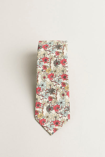 COTTON SKYNNY TIE GRAY PINK FLORAL