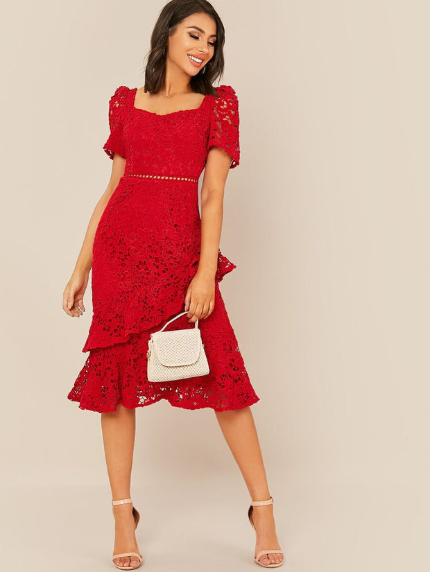 SWEET HEART SOLID LACE DRESS