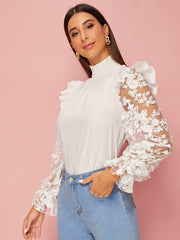 Camila Embroidered Mesh Blouse