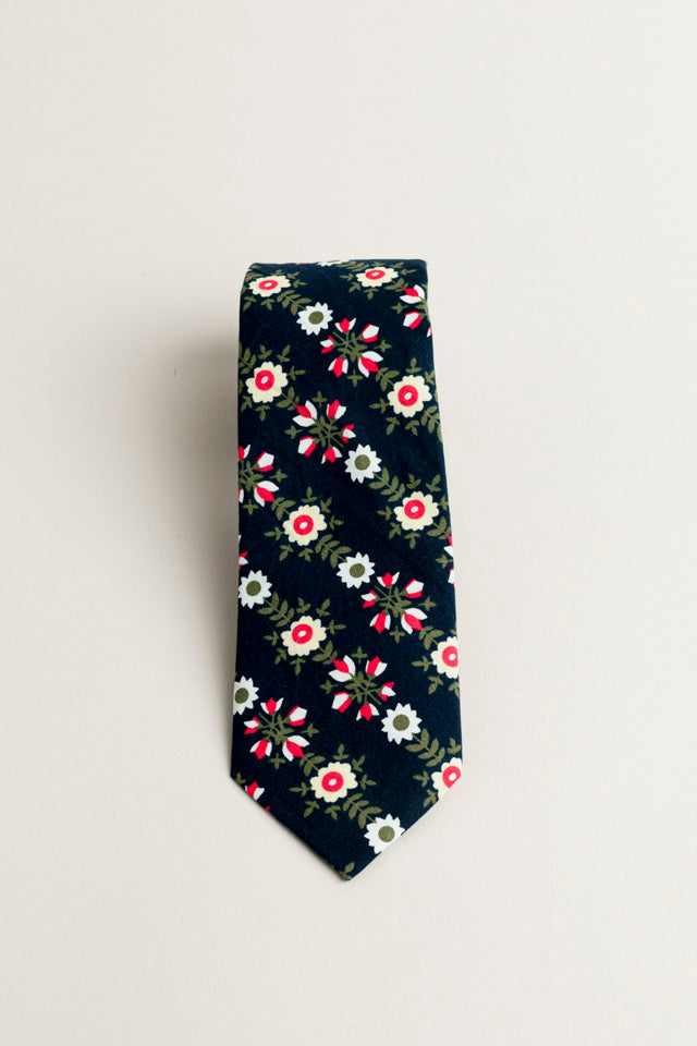 COTTON SKYNNY TIE NAVY FLORAL