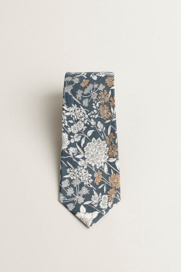 COTTON SKYNNY TIE GRAY FLORAL