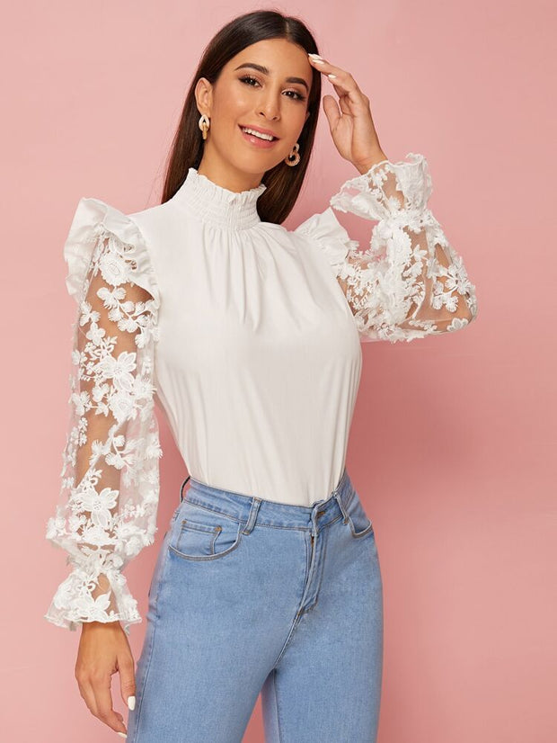 Cielo Embroidered Mesh Ruffle Trim Blouse