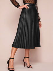 Iris Pleated PU Skirt