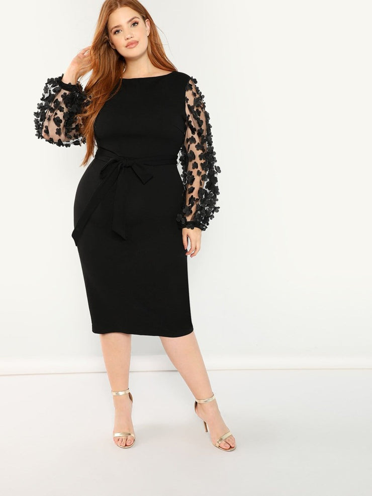 Jolies Plus Pencil Dress With Applique Mesh Sleeve
