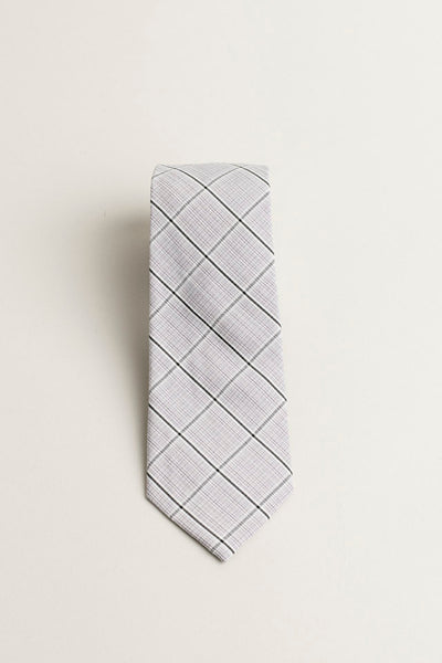 COTTON SKYNNY TIE TAUPE PLAID