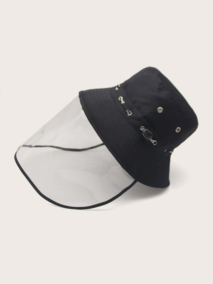 Drawstring Bucket Hat With  Detachable Face Shield