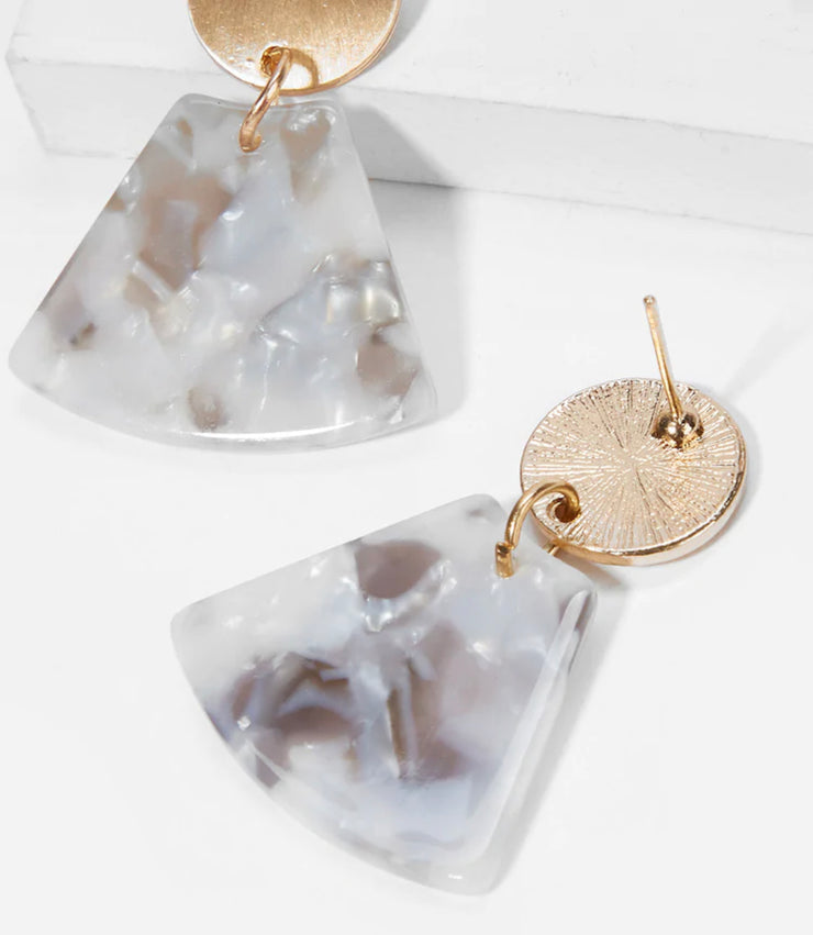 Disc & Fan Shaped Drop Earrings