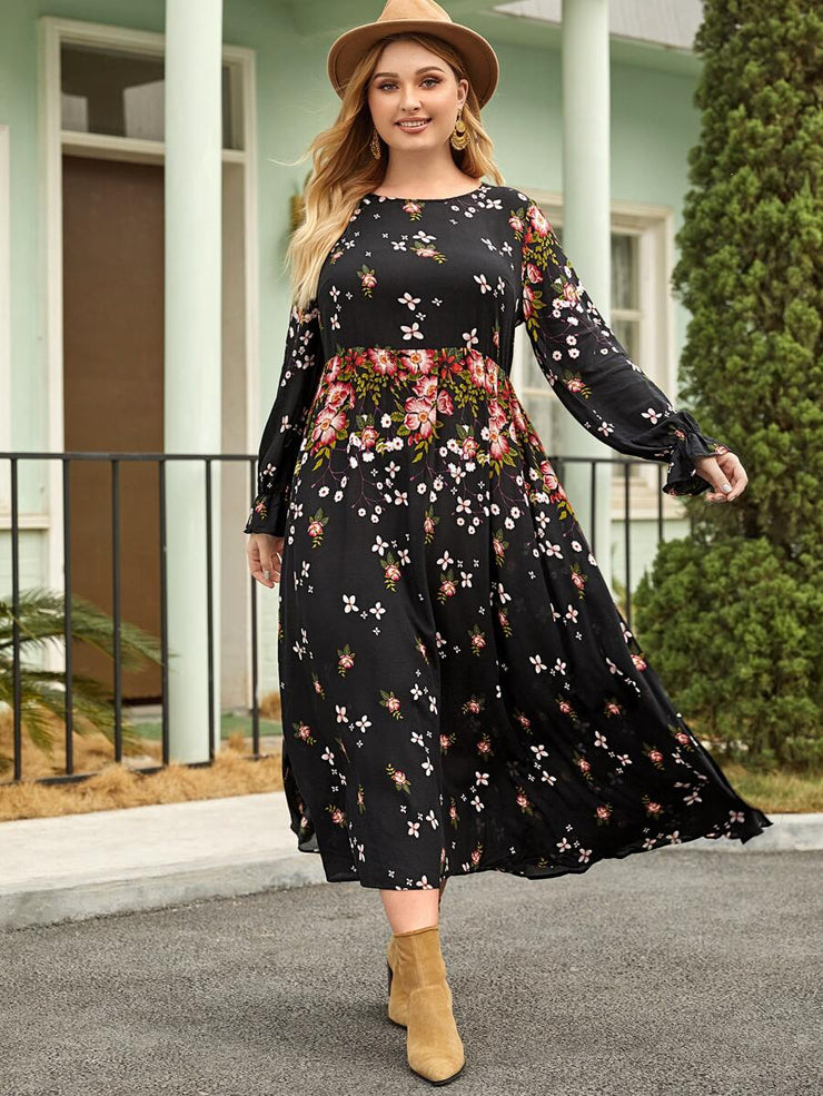 Jolies Plus Ruffle Cuff Floral Print Dress