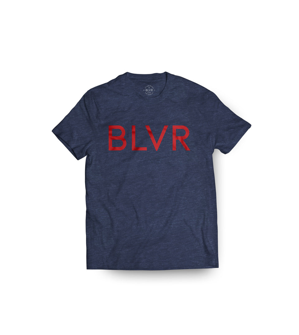 Triblend SS Tee-Red on Navy