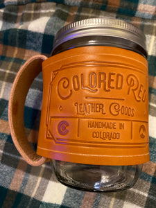 Colored Red Mason Jar Mug Lt Brown