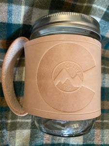 Colored Red Leather Mason Jar Mug Tan