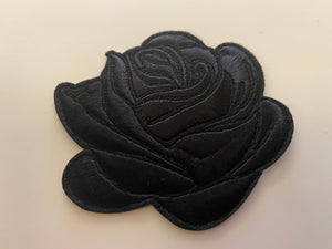 Black Rose Iron On Patch