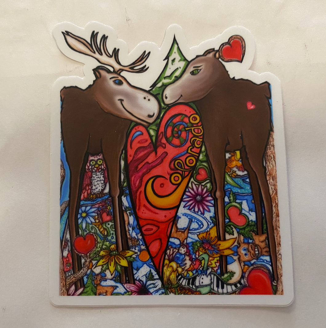 Moose Love Sticker