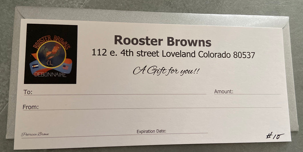 Rooster Browns Gift certificate