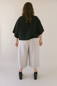 Super Wide Crop Top In Black Linen