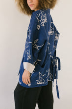Pocket Jacket in Navy Floral Linen