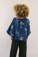 Super Wide Crop Top In Navy Floral Linen