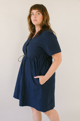Cinched Dress in Navy Linen