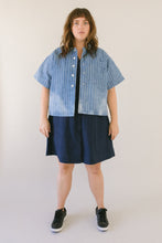 Boxy Collared Shirt in Bleached Denim