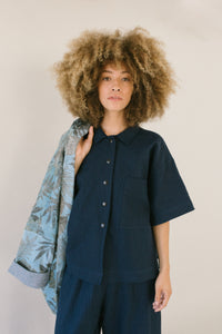 Boxy Collared Shirt in Navy Linen