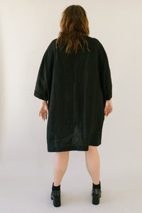 Super Wide Dress in Black Linen