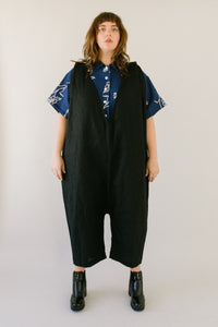 Criss Cross Overall in Black Linen