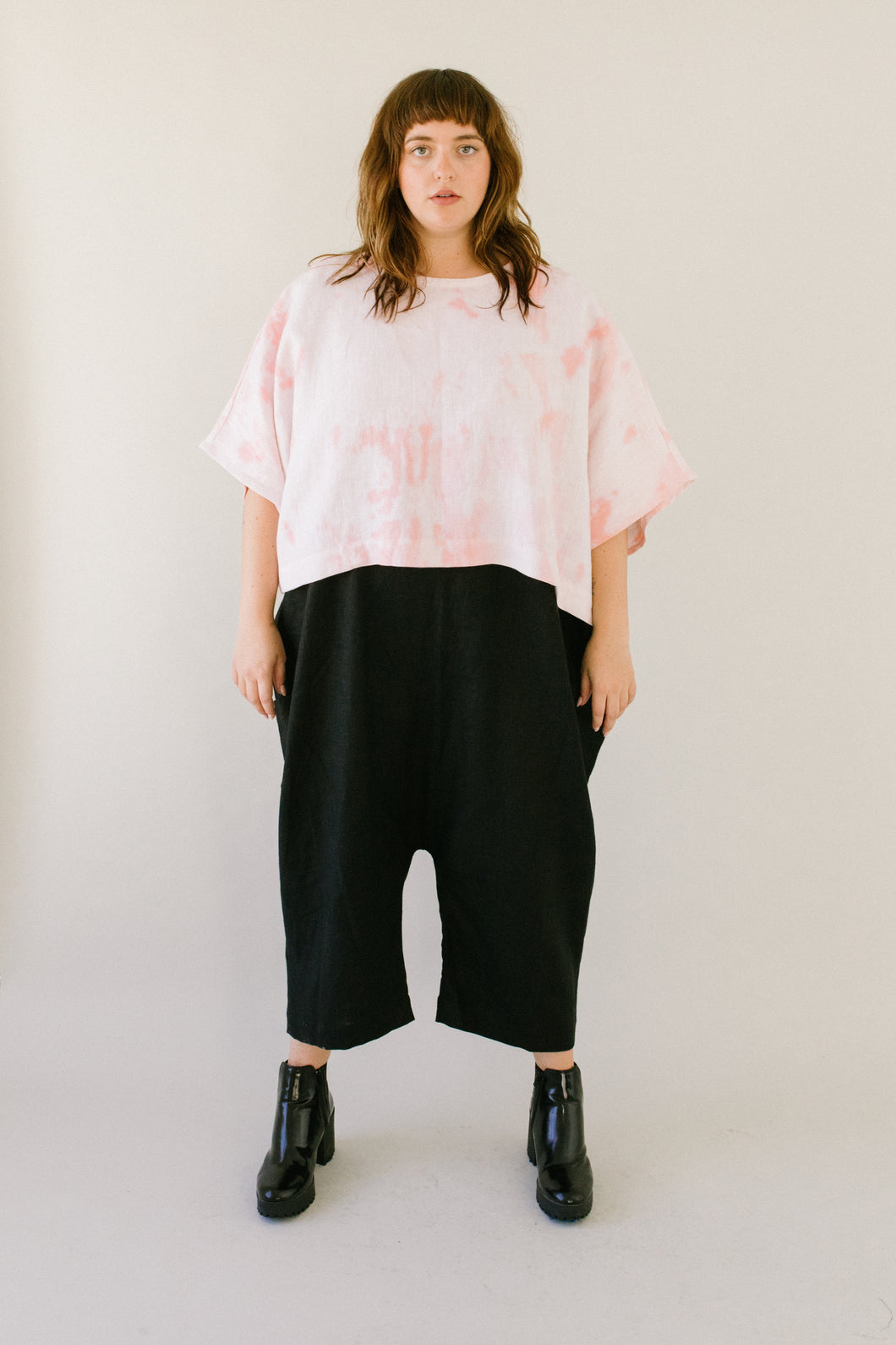 Super Wide Crop Top In Pink Tye Dyed Linen