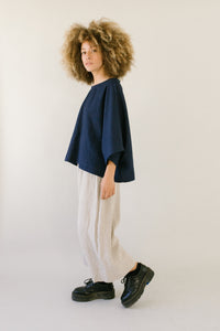 Super Wide Crop Top In Navy Linen