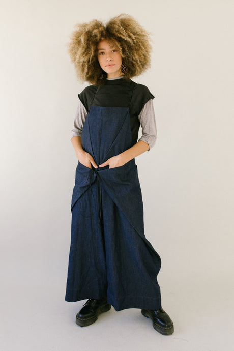 Super Wide Cinched Overall in Denim Chambray