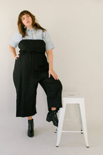 Super Wide Cinched Overall in Black Linen