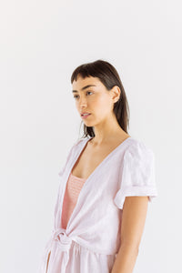 Tied Back to Front Top in Light Pink Linen