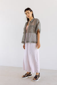 Boxy Collared Shirt in Sheer Gunmetal Linen