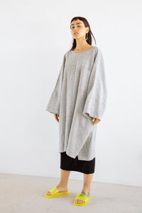 Super Wide Dress in Black/White Check Gauze