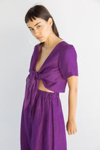 Tied Back to Front Top in Purple Linen