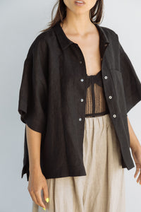 Boxy Collared Shirt in Black Linen