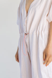 Cinched Jumpsuit in Blush Linen