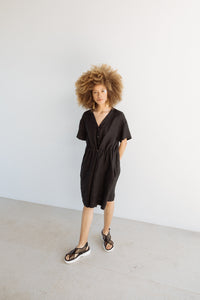 Cinched Dress in Black Linen