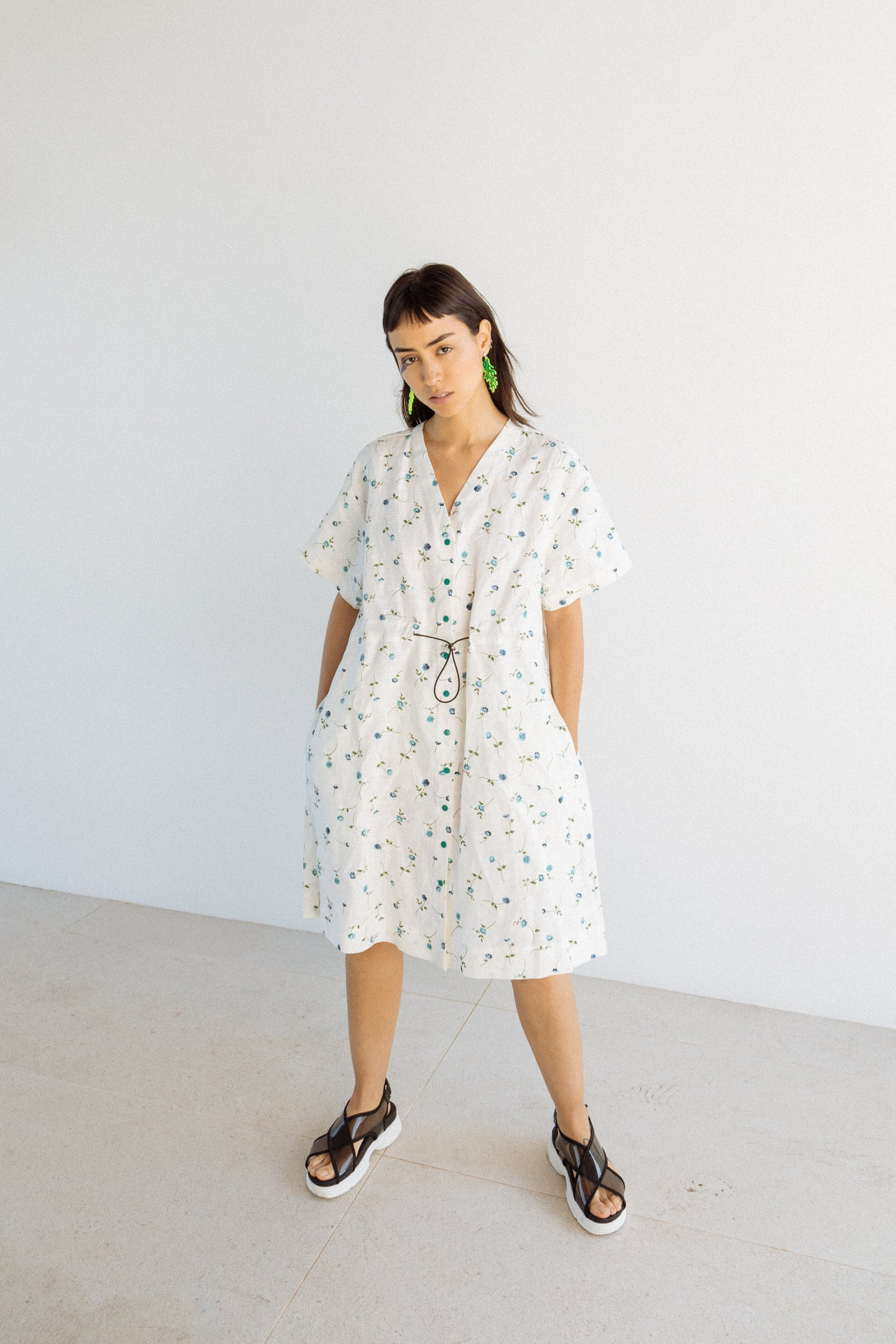 Cinched Dress in White Floral Linen